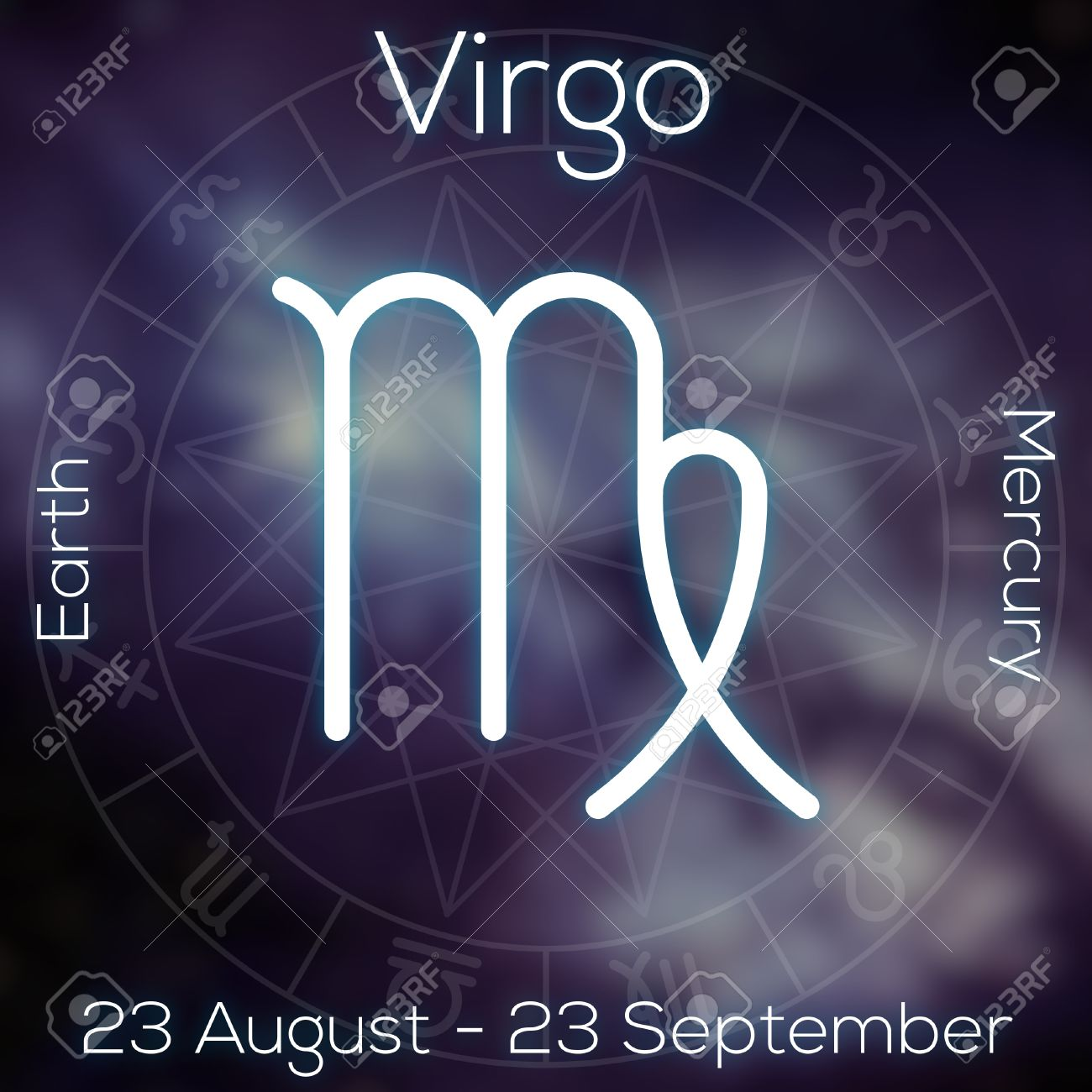 Zodiac Sign Virgo White Line Astrological Symbol With Caption