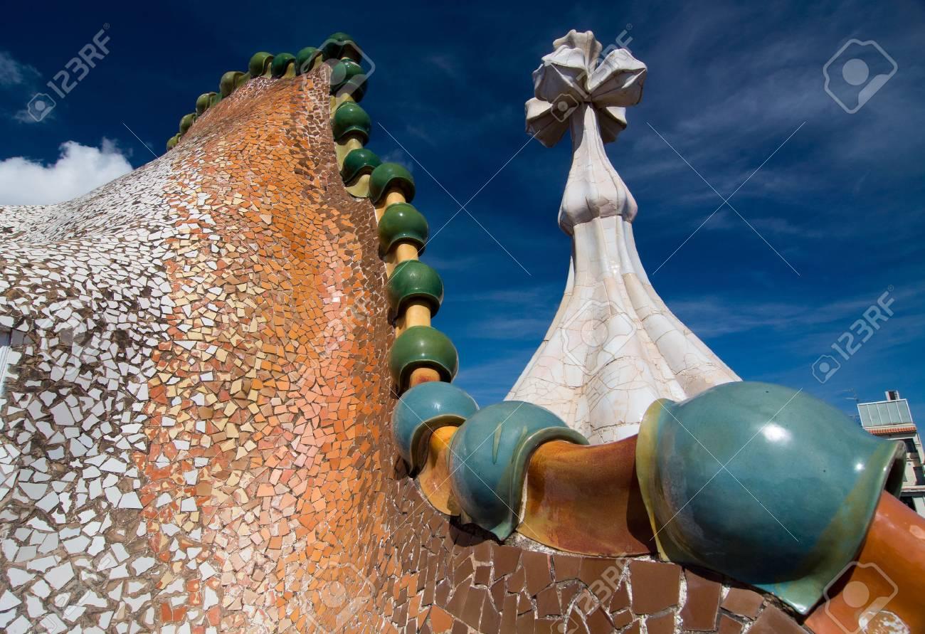 Barcellona 20 settembre: tetto della casa casa batlló progettata