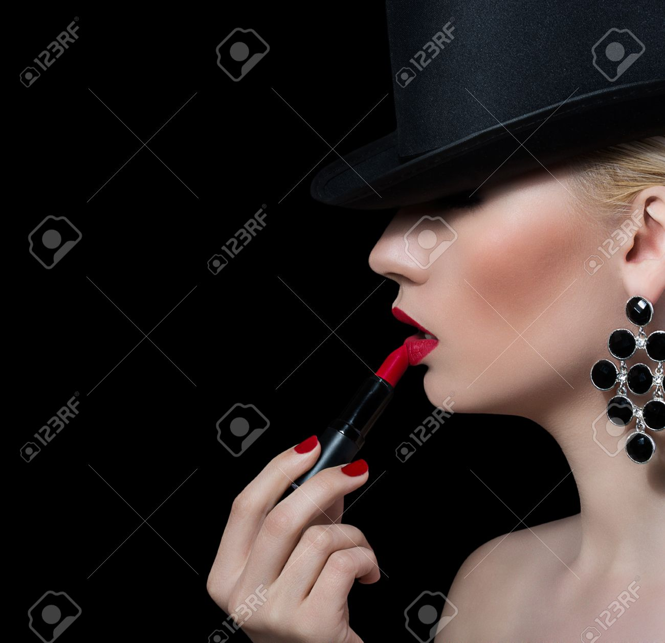 Black dress red lipstick 310