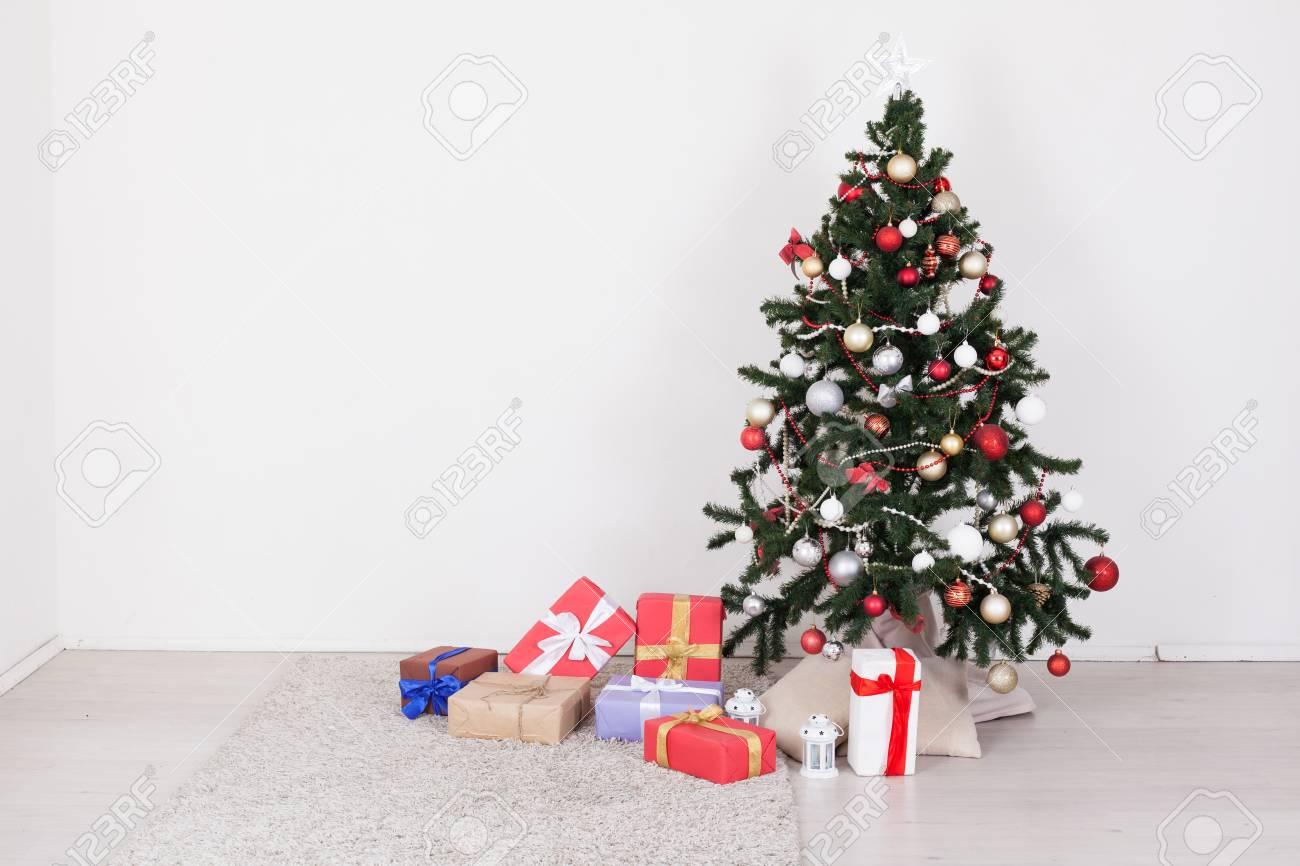 Christmas Tree With Presents Of Toys With A Garland Of New Year