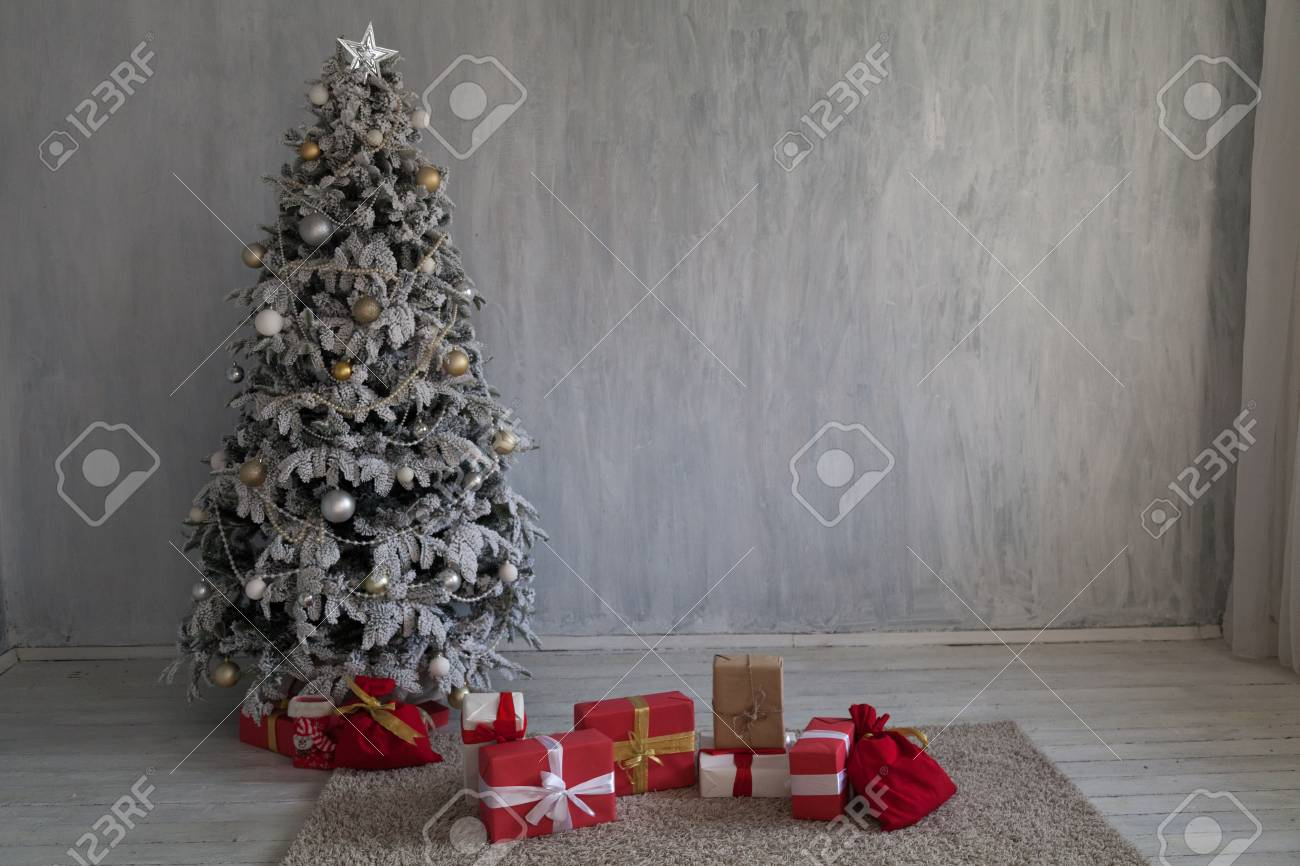 Christmas Interior Home Decor Gifts New Year Tree Stock Photo