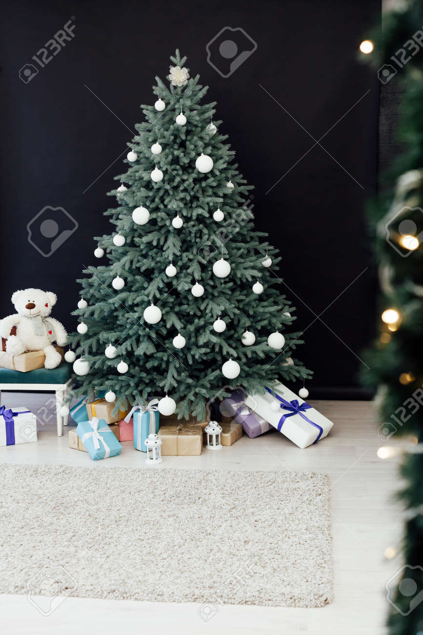 Blue Christmas Tree Decor Pine For The New Year With Gifts Black Stock Photo Picture And Royalty Free Image Image 158958430