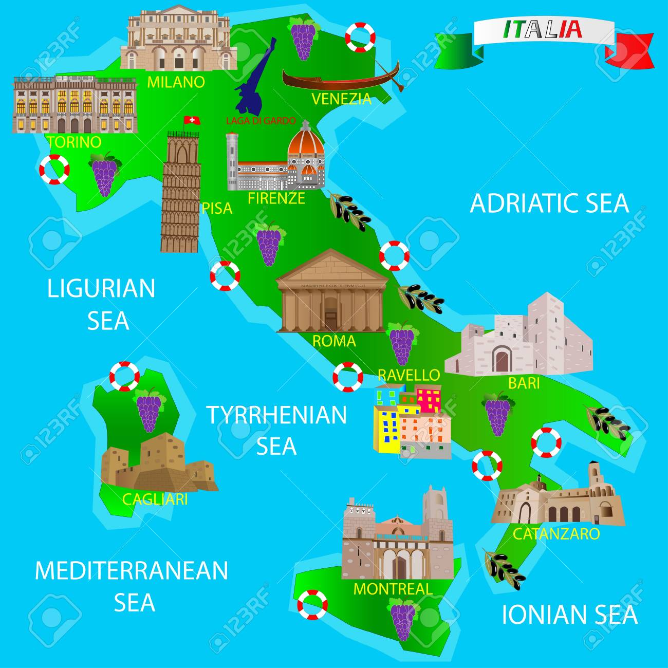 Map Of Italy For Tourists.Map Of Italy For Tourists Architectural Monuments