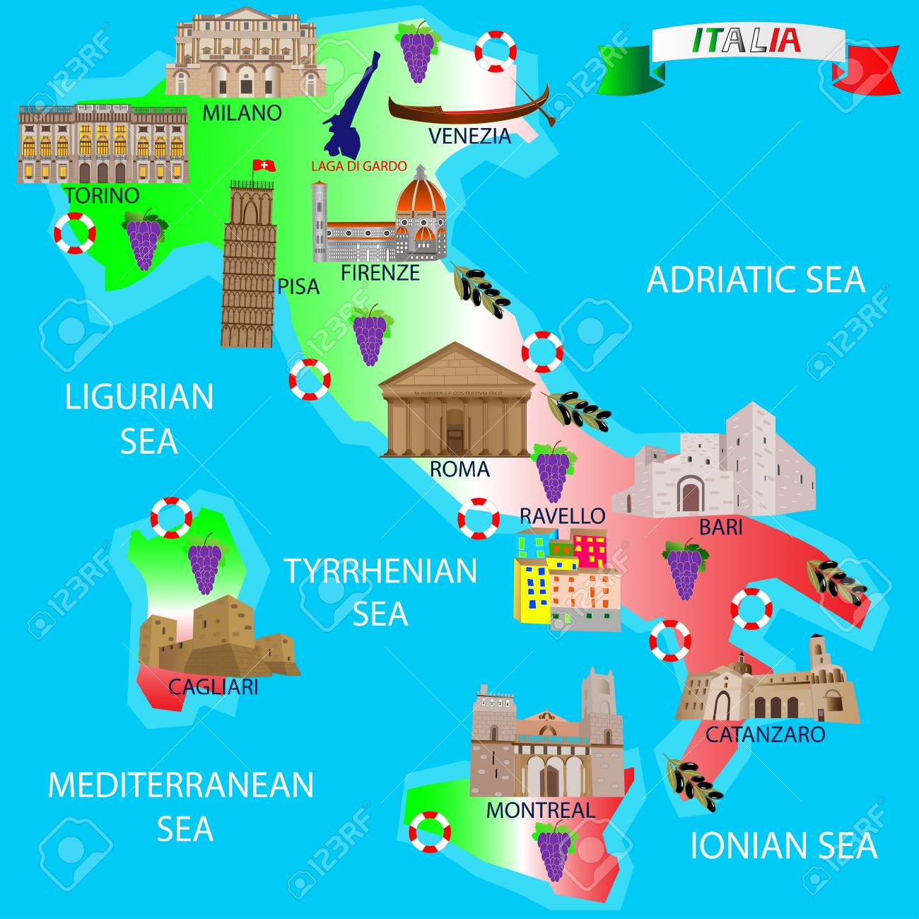 Map Of Italy For Tourists.Map Of Italy For Tourists Architectural Monuments Royalty Free