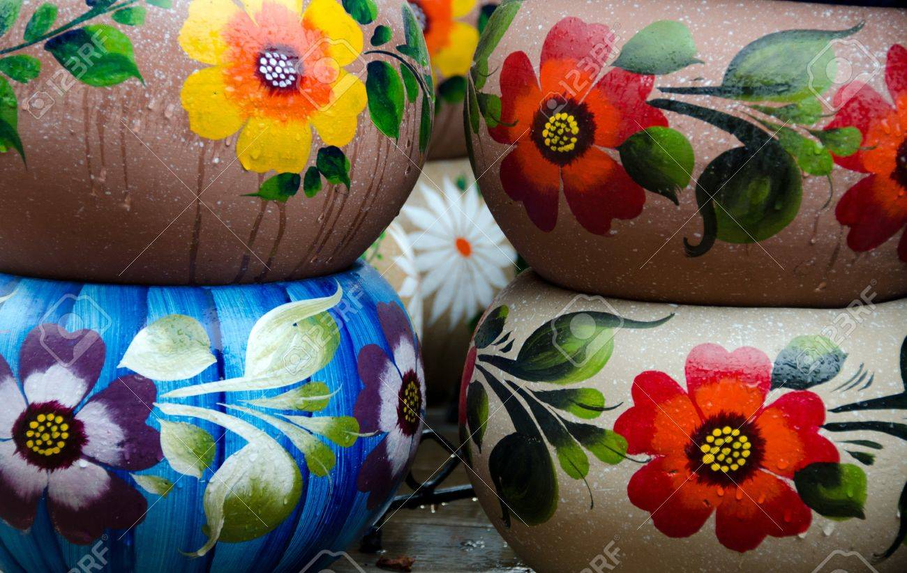 Mexican colorful ceramic pots in workshop in San Diego Stock Photo - 16988352