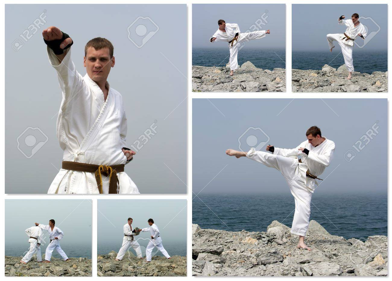 karate fight collage made of six photos stock photo picture and