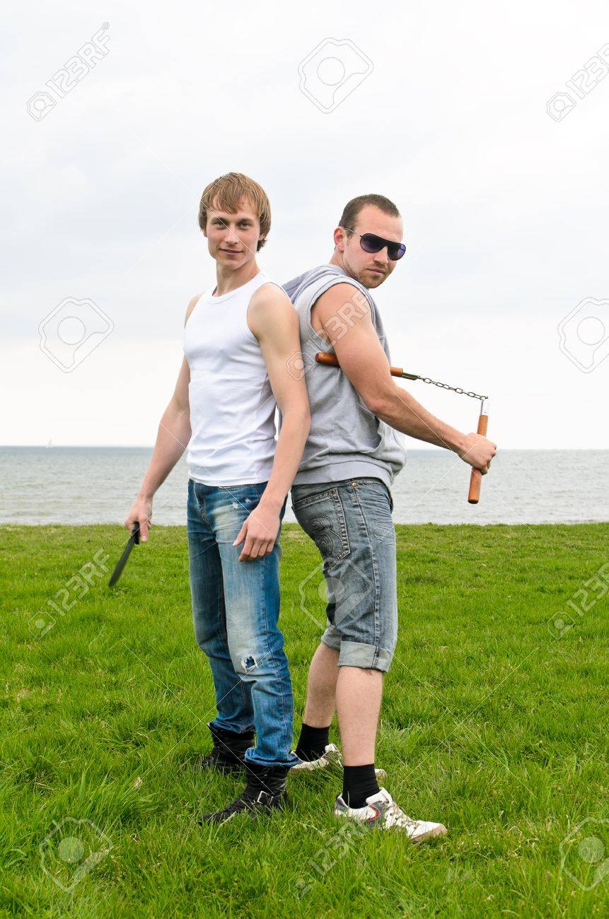 Fight club: Two fighters standing back to back Stock Photo - 13559241