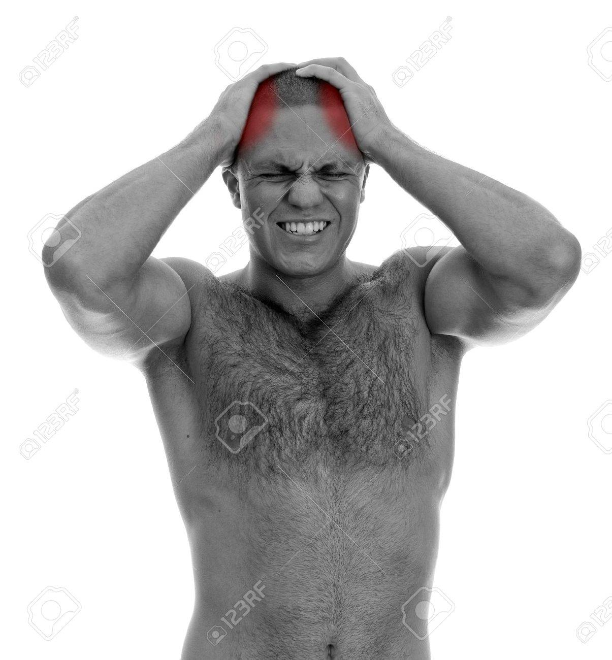 Muscular man suffering from headache  Isolated on white  black and white Stock Photo - 15440111