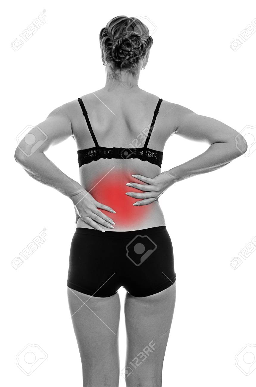 Rear view of young woman with spinal pain. Isolated on white. Black and white Stock Photo - 16194093