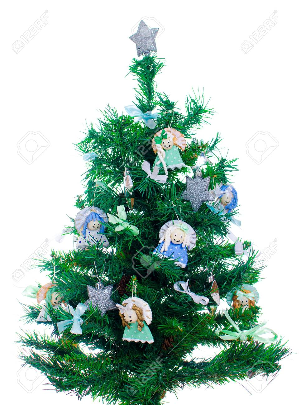 Little Xmas Tree With Handmade Decorations Isolated On White Stock