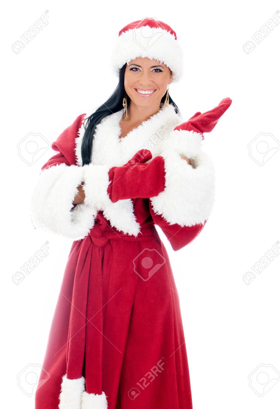Young woman in santa clause costume. Isolated on white Stock Photo - 17038530