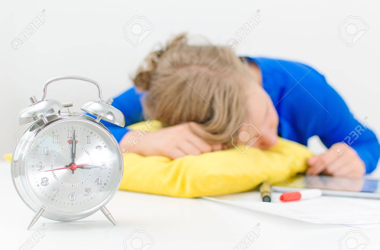 Schedule of the day  Workday  Woman fell asleep on the table Stock Photo - 30419230
