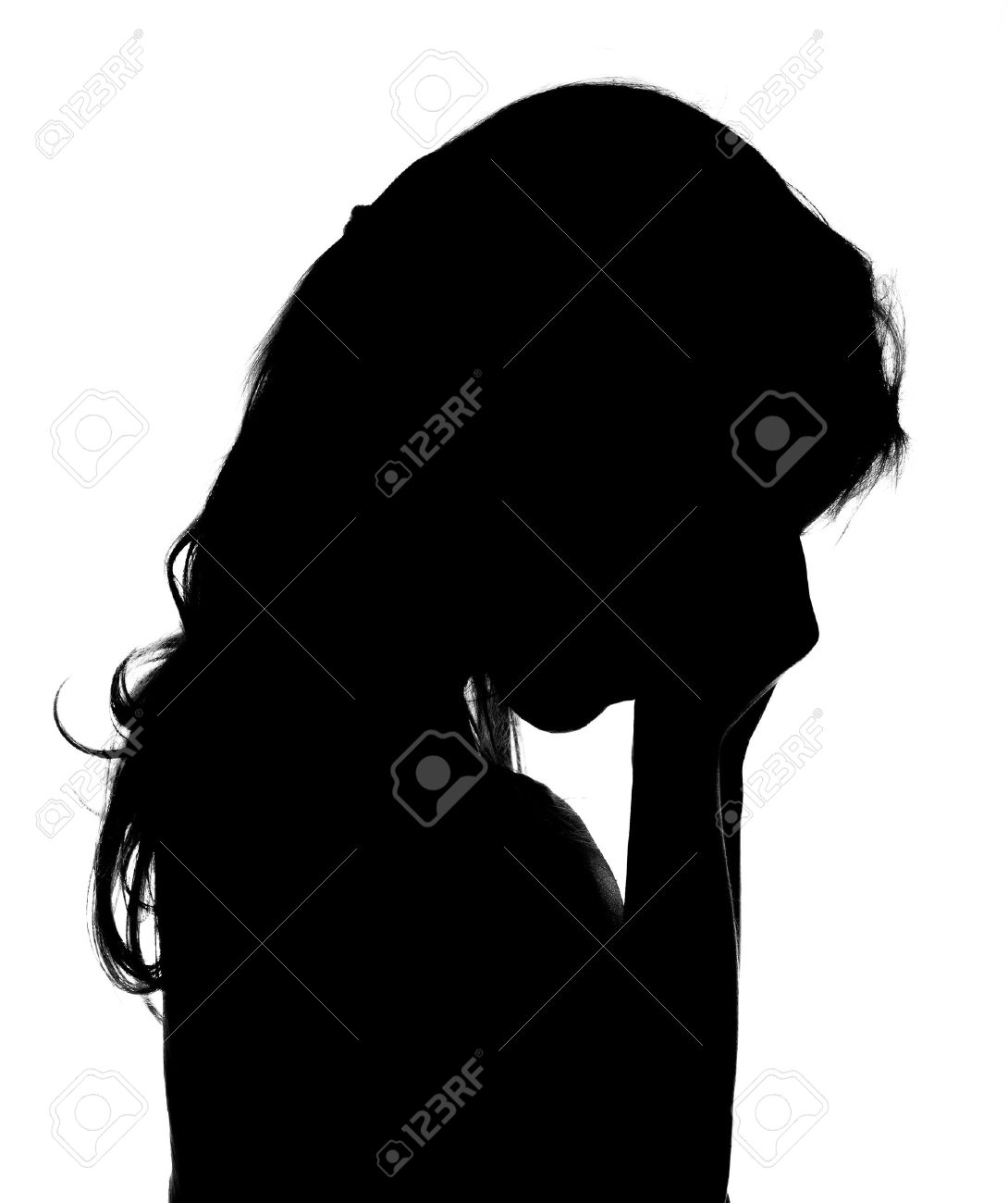 Silhouette of crying little girl. - 38862822