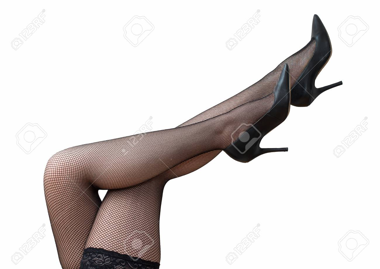 637a09606ae Sexy female legs in black tights and shoes raised up. Stock Photo - 43207093