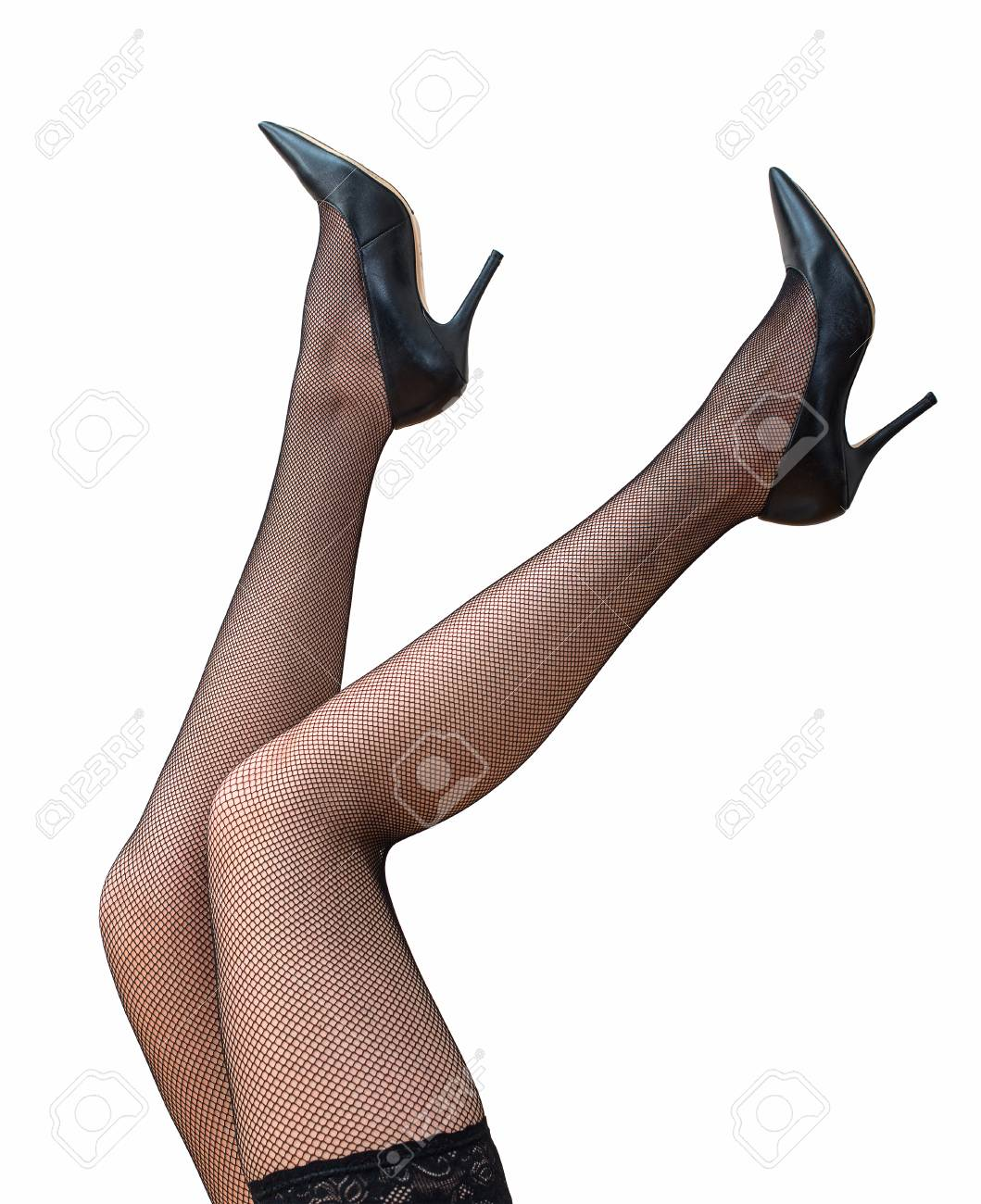87976d75f22 Sexy female legs in black tights and shoes raised up. Stock Photo - 43207193