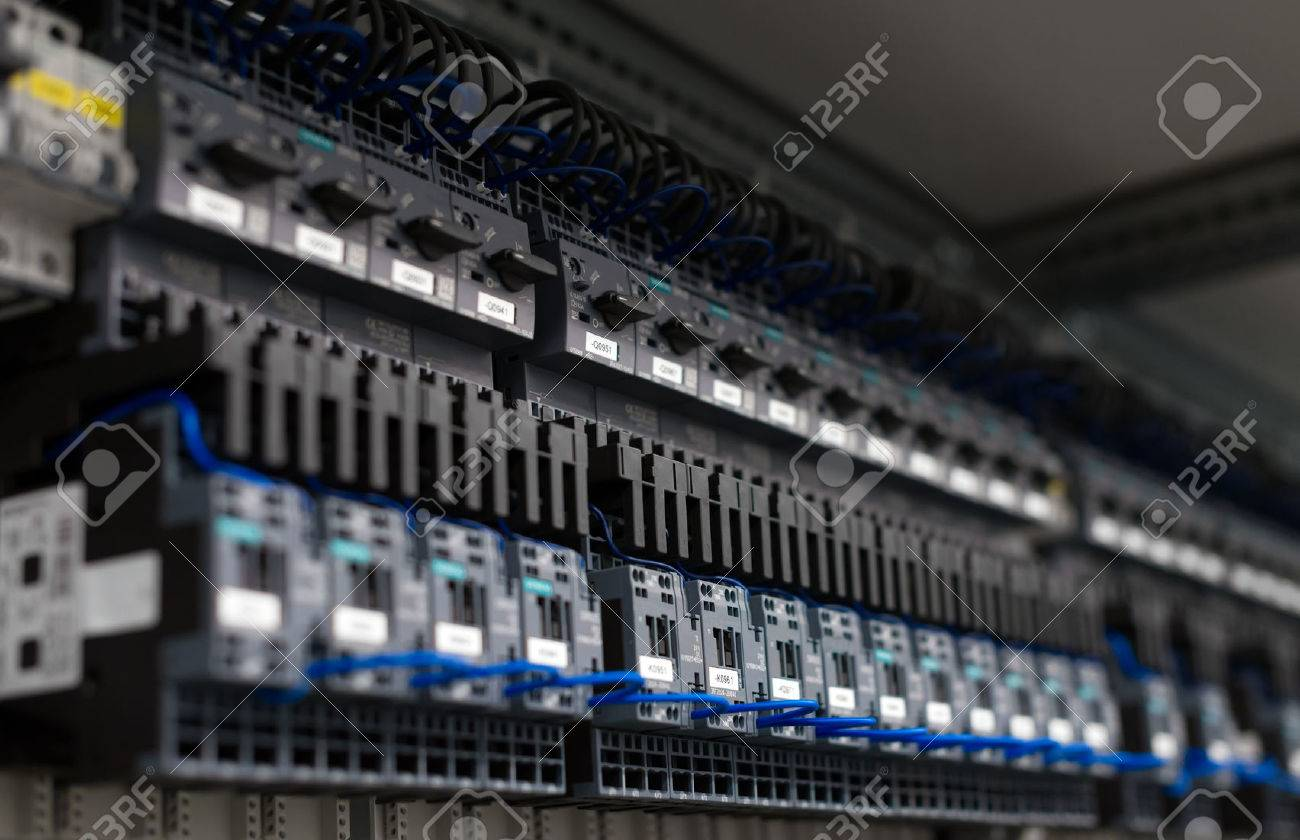 Close-up view of industrial contactors at factory. - 52064858