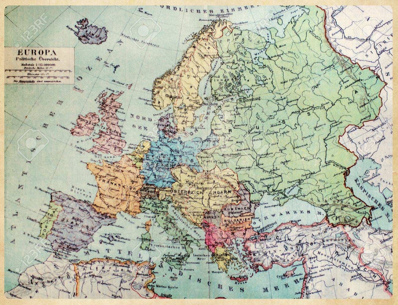 Historical Map Of Old Europe 1900 Years Stock Photo