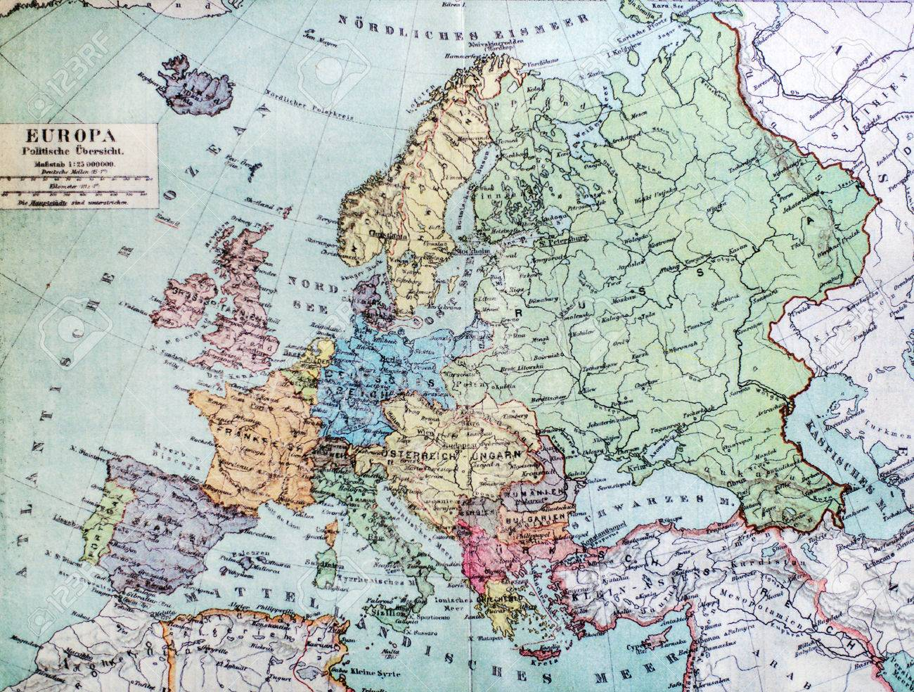 Historical Map Of Old Europe 1900 Years Stock Photo Picture And