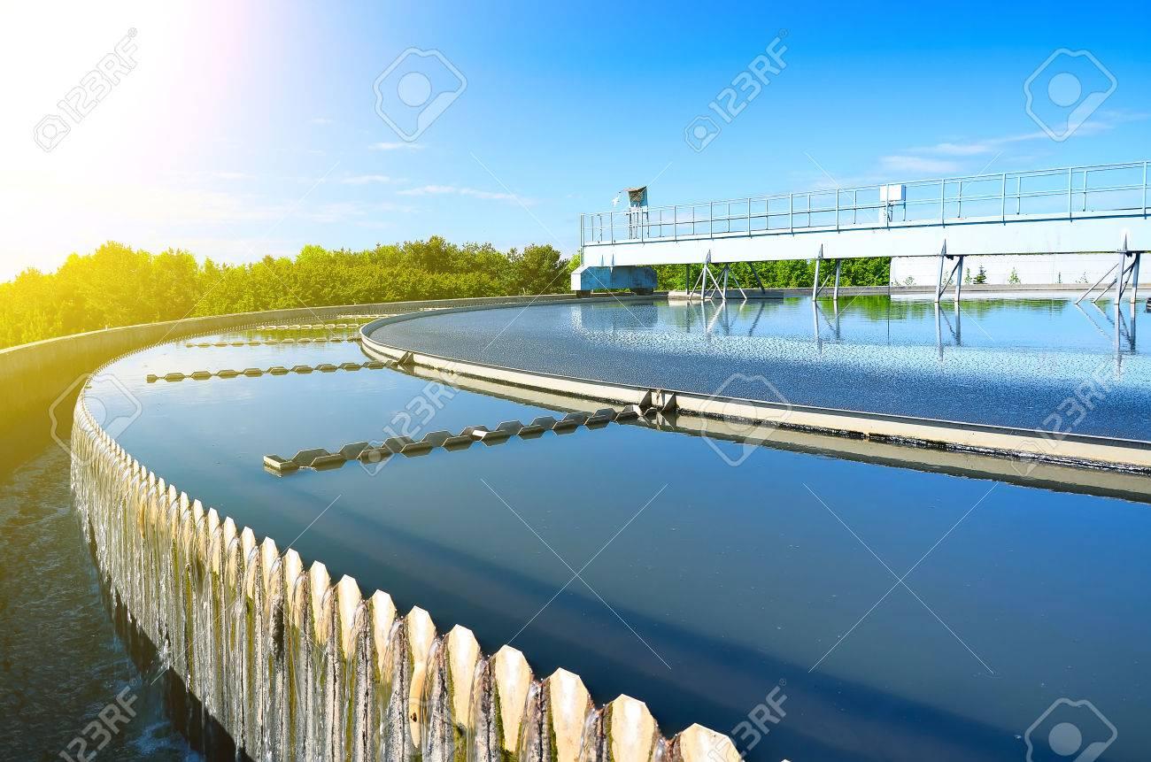 Modern urban wastewater treatment plant. - 71866116