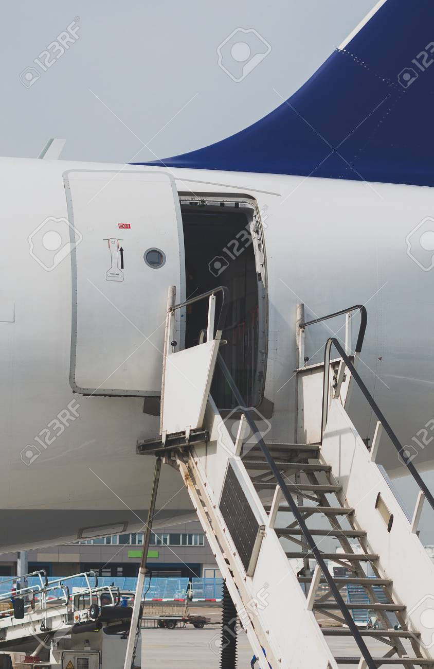 Welcome Aboard The Open Door In The Plane Stock Photo Picture And