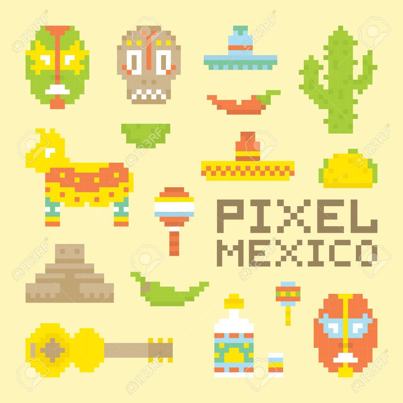 Pixel Art Style Isolé Objets Vecteur Mexicain
