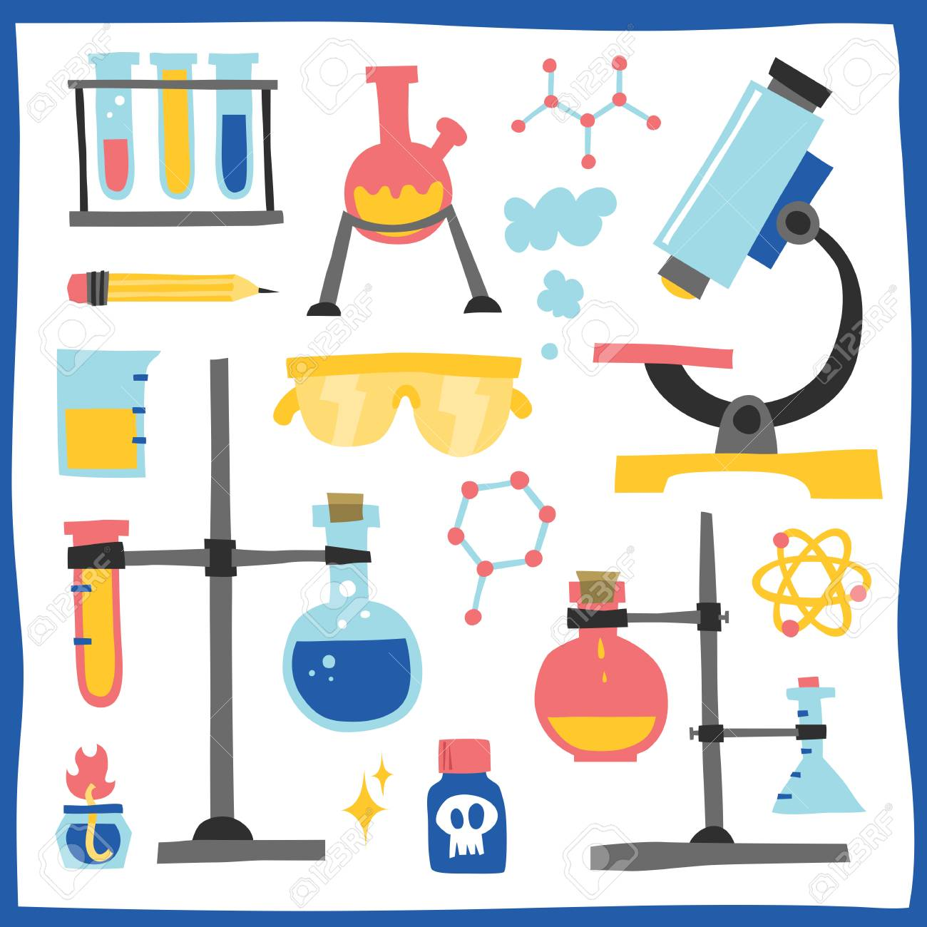 Chemistry Laboratory Equipment Hand Drawn Vector Objects Stock