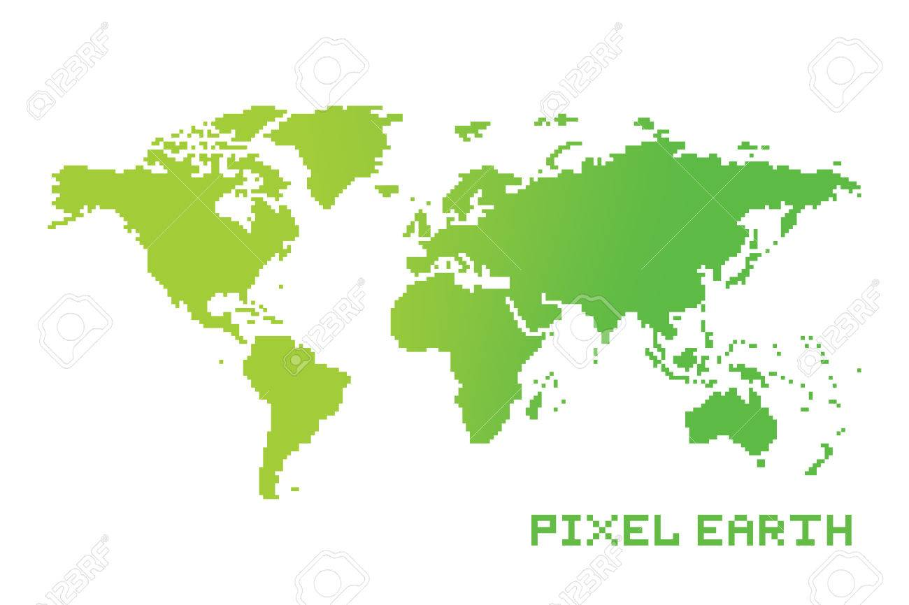 Pixel art game location style earth map vector royalty free cliparts pixel art game location style earth map vector stock vector 74992532 gumiabroncs Choice Image