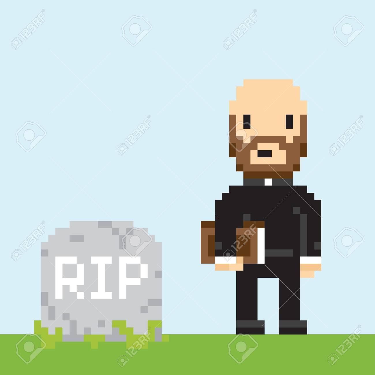 Pixel Art Art Art Nouveau En Una Ilustración Vectorial Funeral