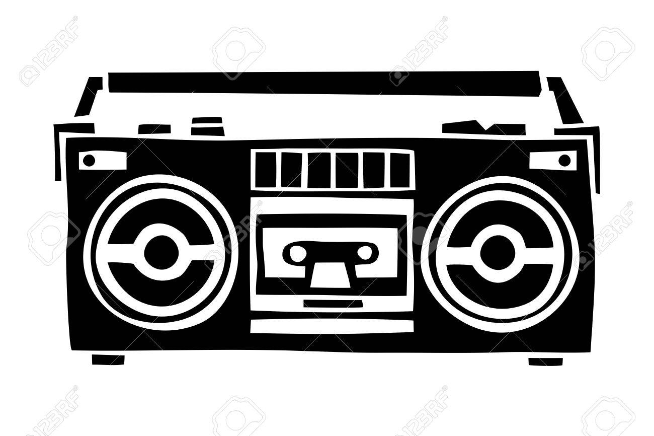 old school cassette player cartoon hand drawn style isolated rh 123rf com boombox speaker vector boombox vector png