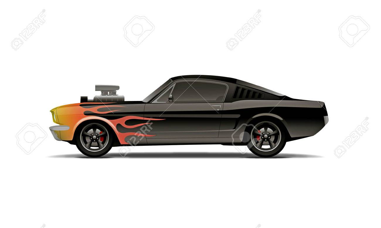 Castomized Muscle Car With Supercharger And Flames Royalty Free ...