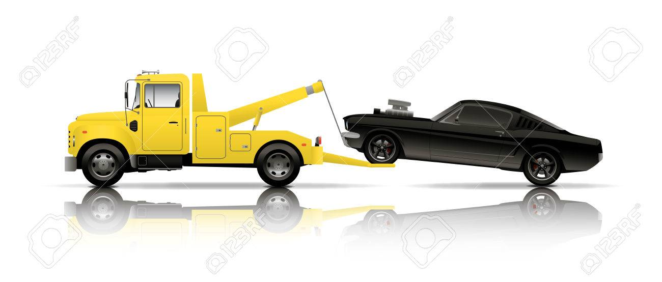 Tow Truck Towing Black Muscle Car Royalty Free Cliparts, Vectors ...