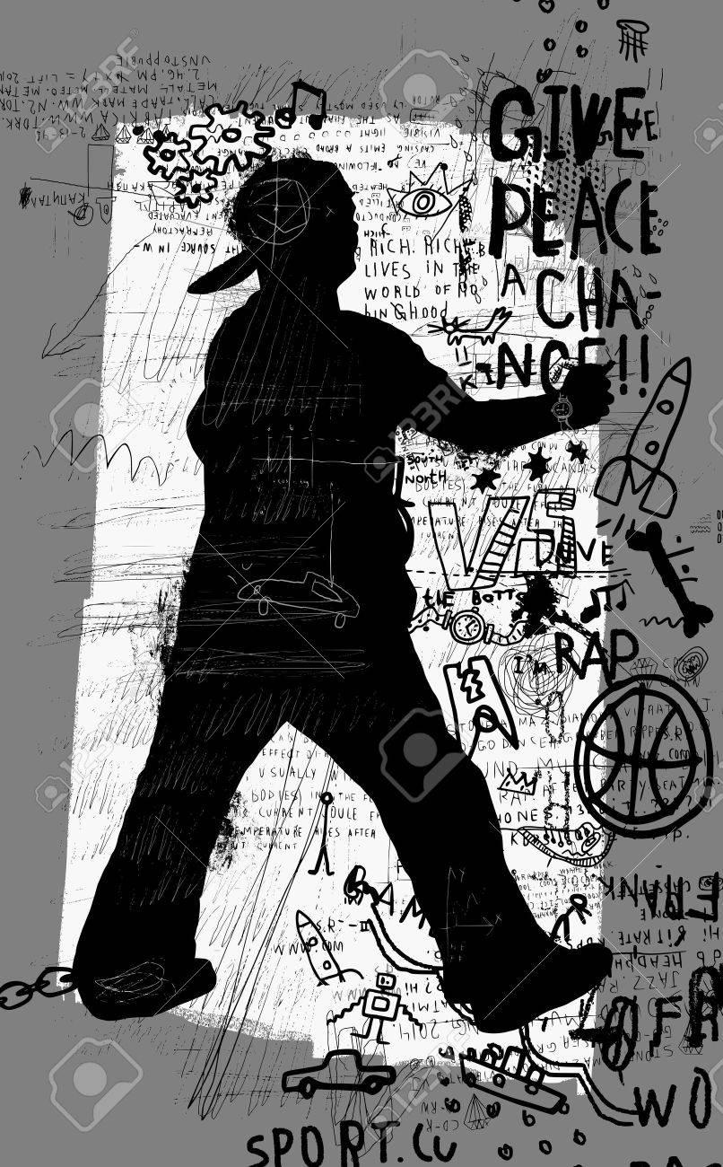 Symbolic image of a man who paints graffiti - 36373303