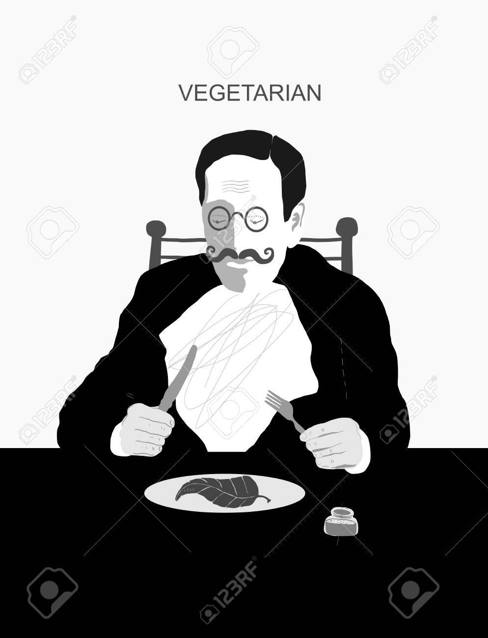 hombre que solo come vegetales