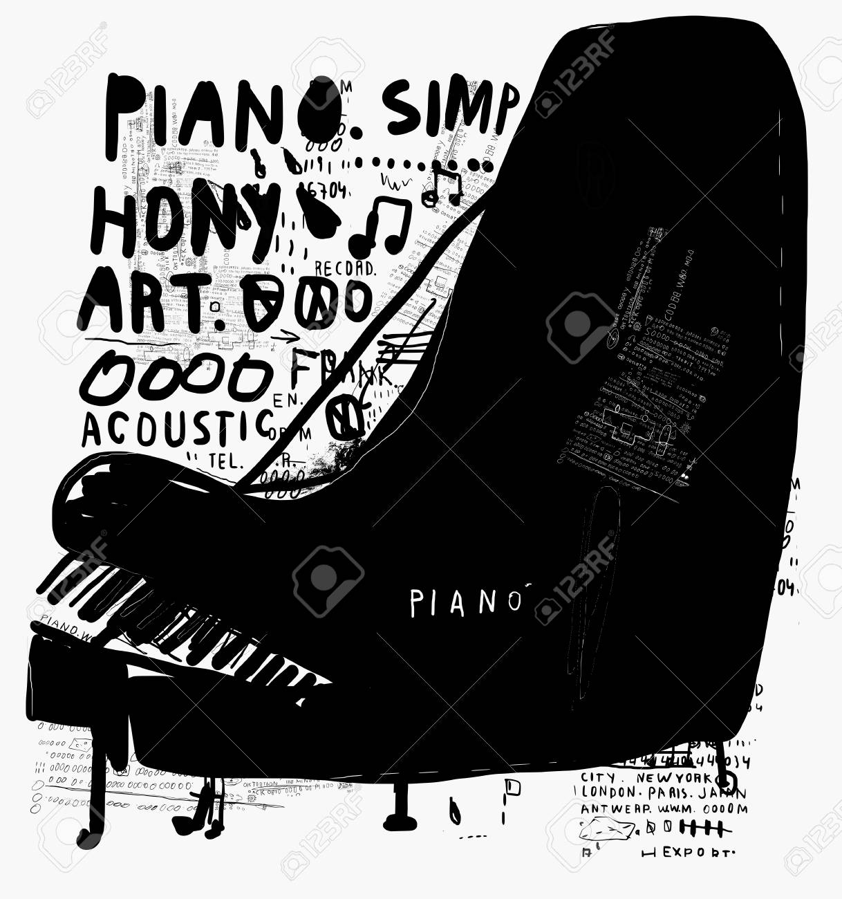 The symbolic image of a piano on white background - 58012238