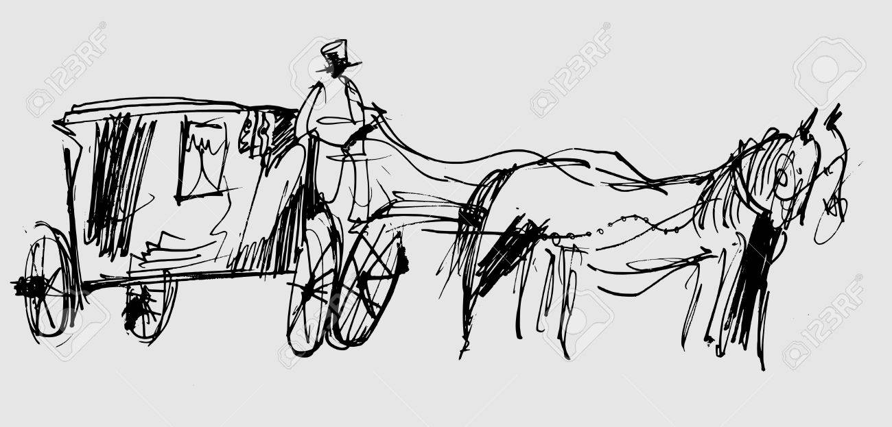 Symbolic image of a horse and carriage in the form of a sketch - 74784112