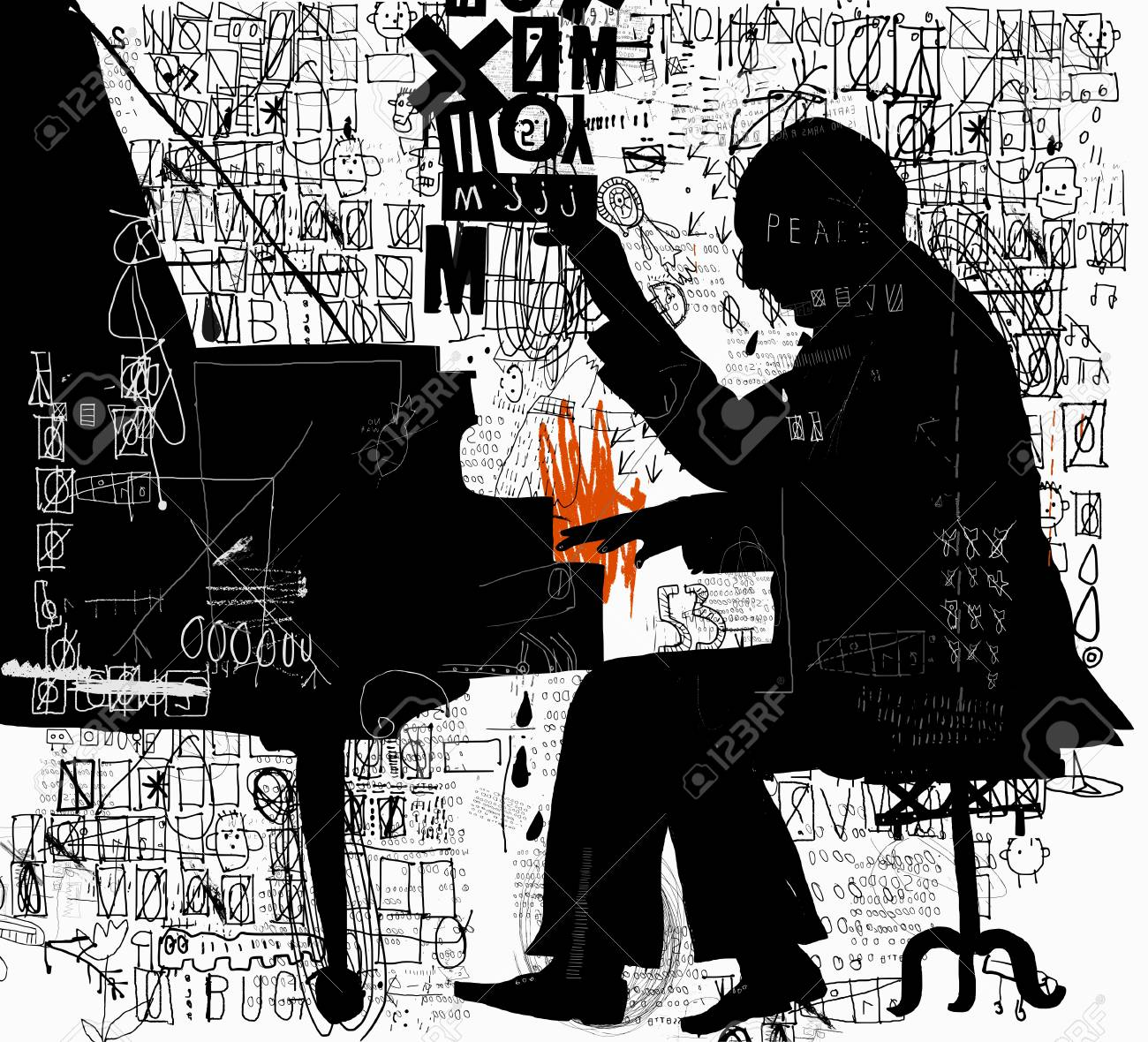The symbolic image of a man who plays the piano illustration. - 96520230
