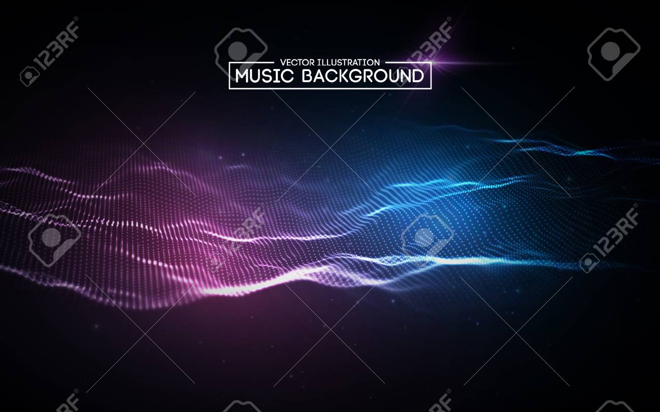 Music abstract background blue. Equalizer for music, showing sound waves with music waves. - 95833732