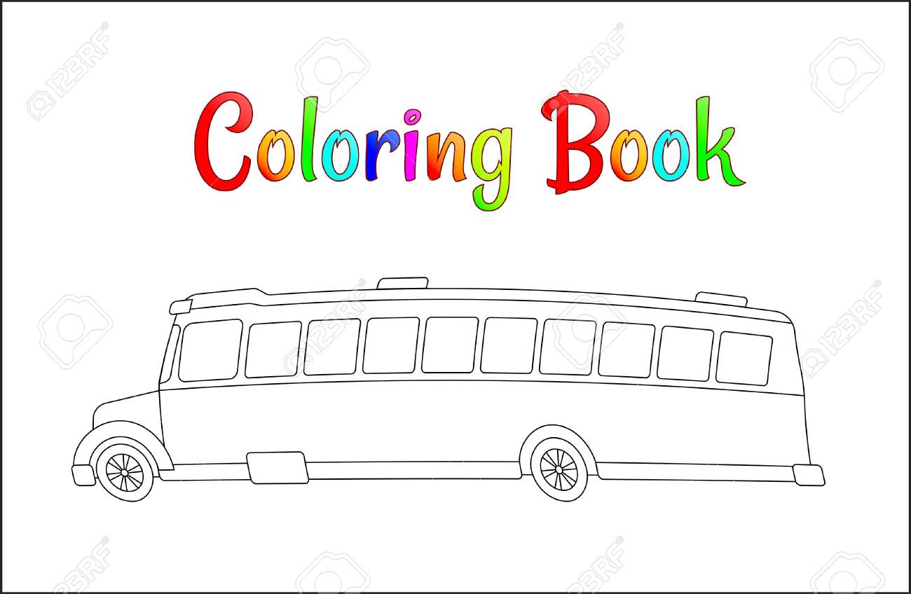 School bus coloring page, back to school concept, kids school..