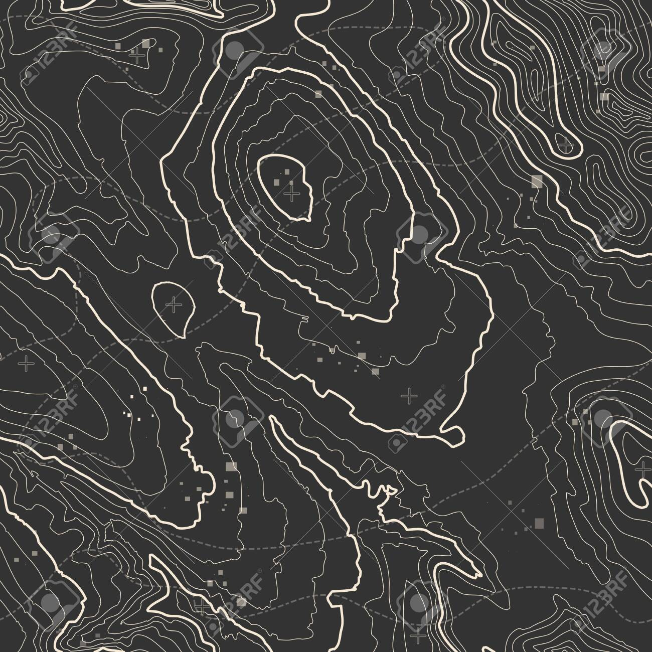 Seamless pattern. Topographic map background with space for copy Seamless texture. geographic grid abstract vector illustration . Mountain hiking trail terrain . - 133141450
