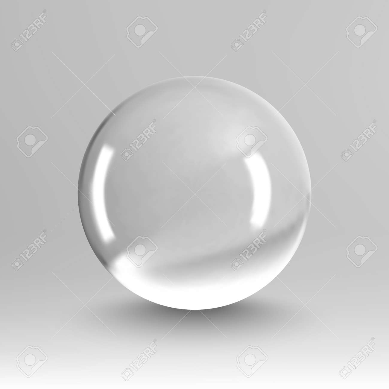Crystal ball light vector on transparent background. Clear sphere transparent ball. Bubble clear EPS 10. - 166951375