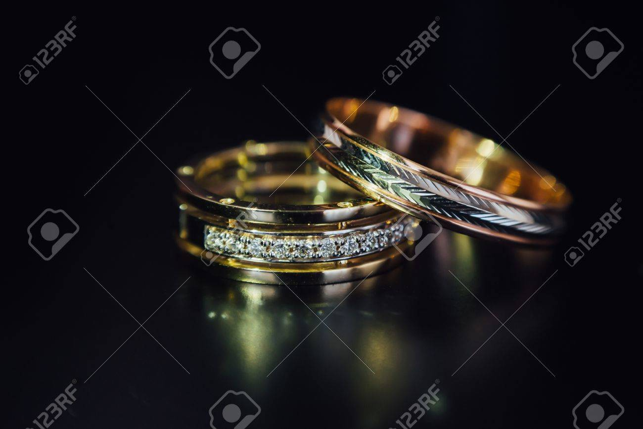 Beautiful Wedding Golden Rings On Dark Background Stock Photo ...