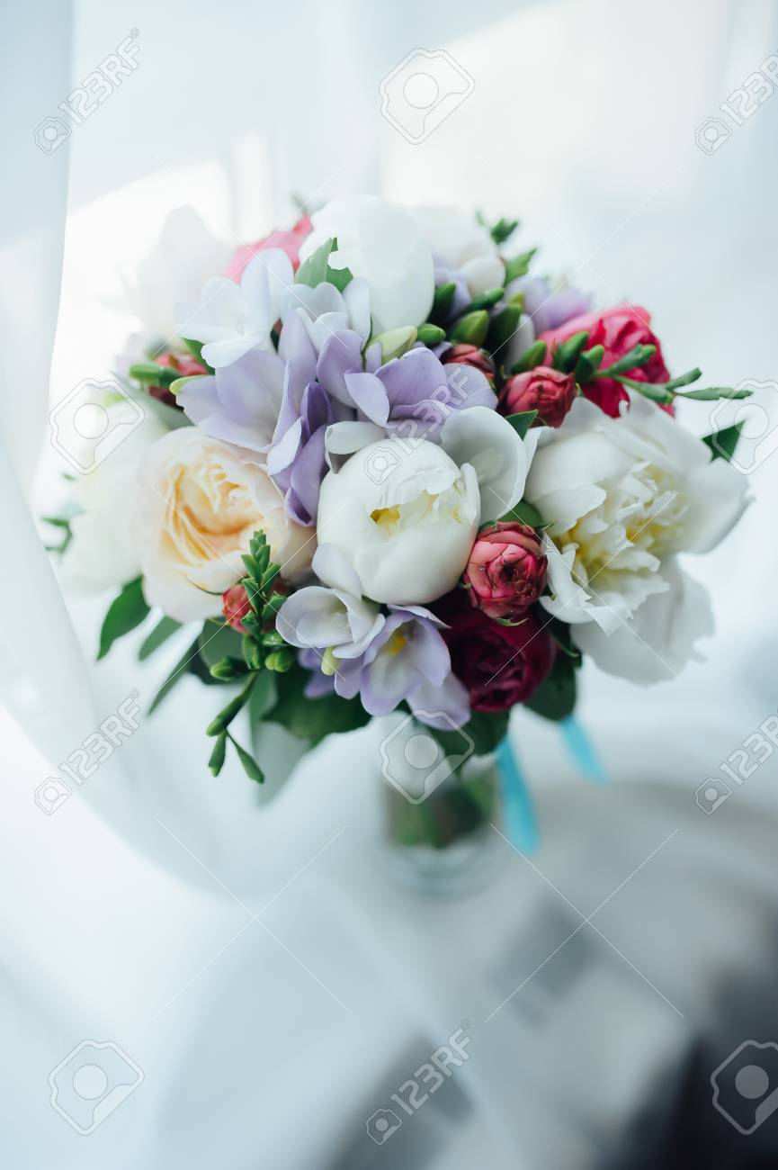 Wonderful luxury wedding bouquet of different flowers stock photo stock photo wonderful luxury wedding bouquet of different flowers izmirmasajfo