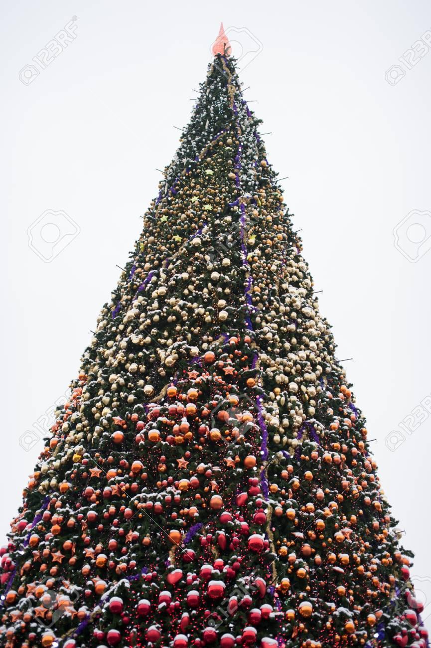 Albero Di Natale Grande.Immagini Stock Grande Albero Di Natale Con Le Palle Sulla Piazza Della Citta Image 69019017