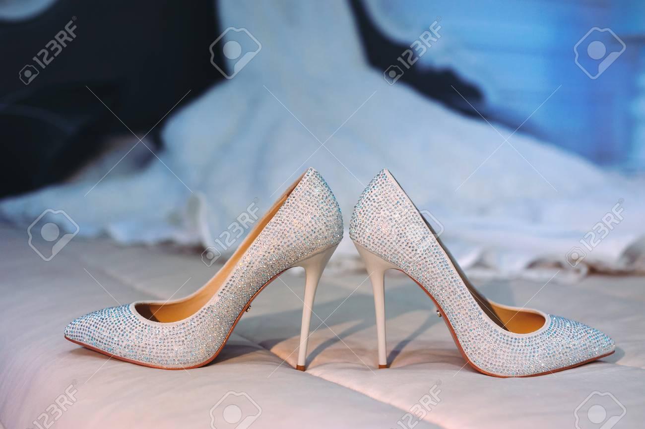 Elegant White Bride Shoes. Wedding