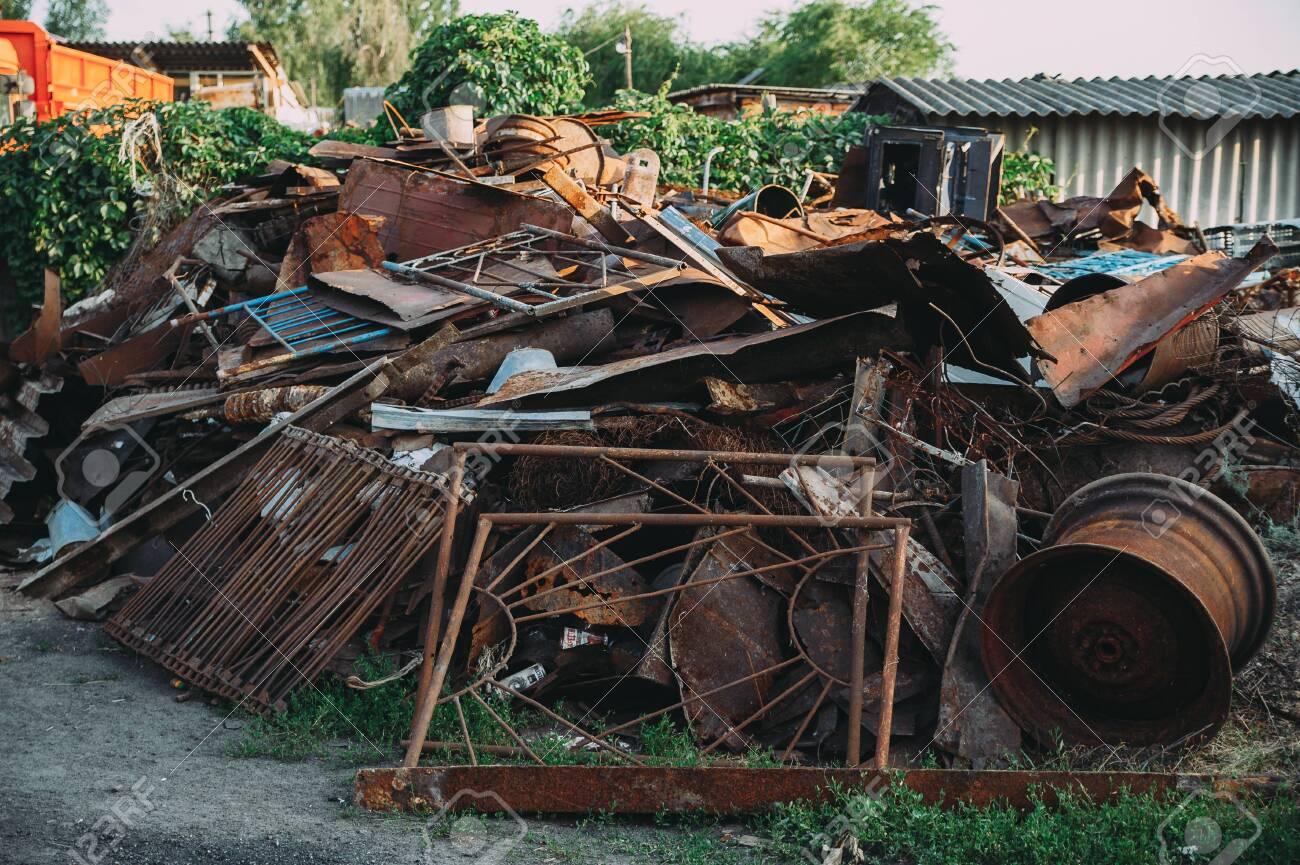 a pile of rusty scrap metal. garbage - 130101575