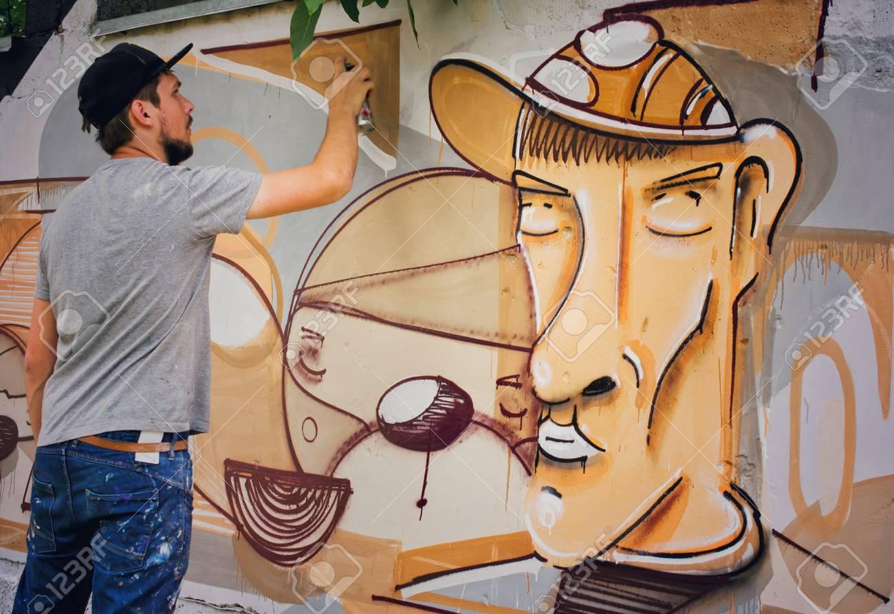 Graffiti on a wall. - 88296336