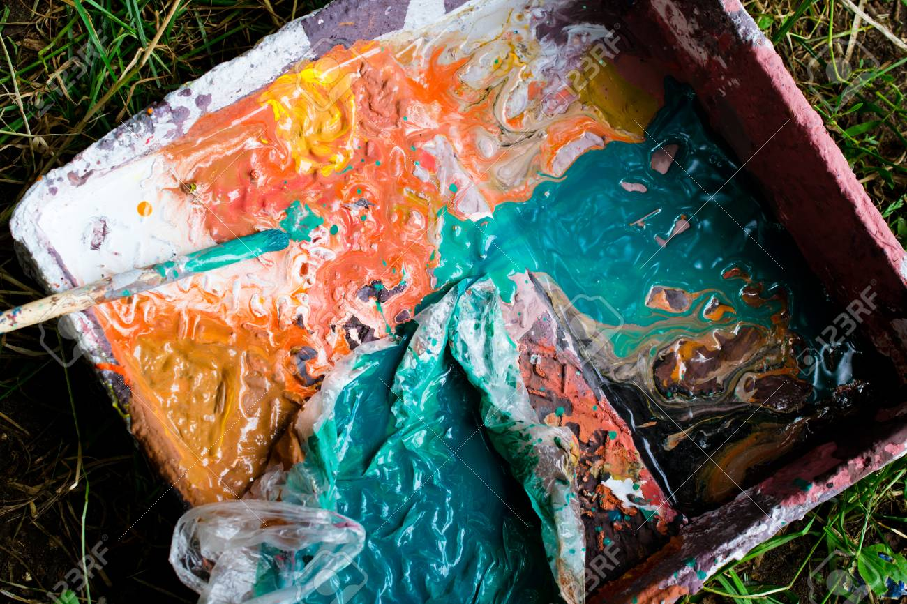 palette with paints - 88297473