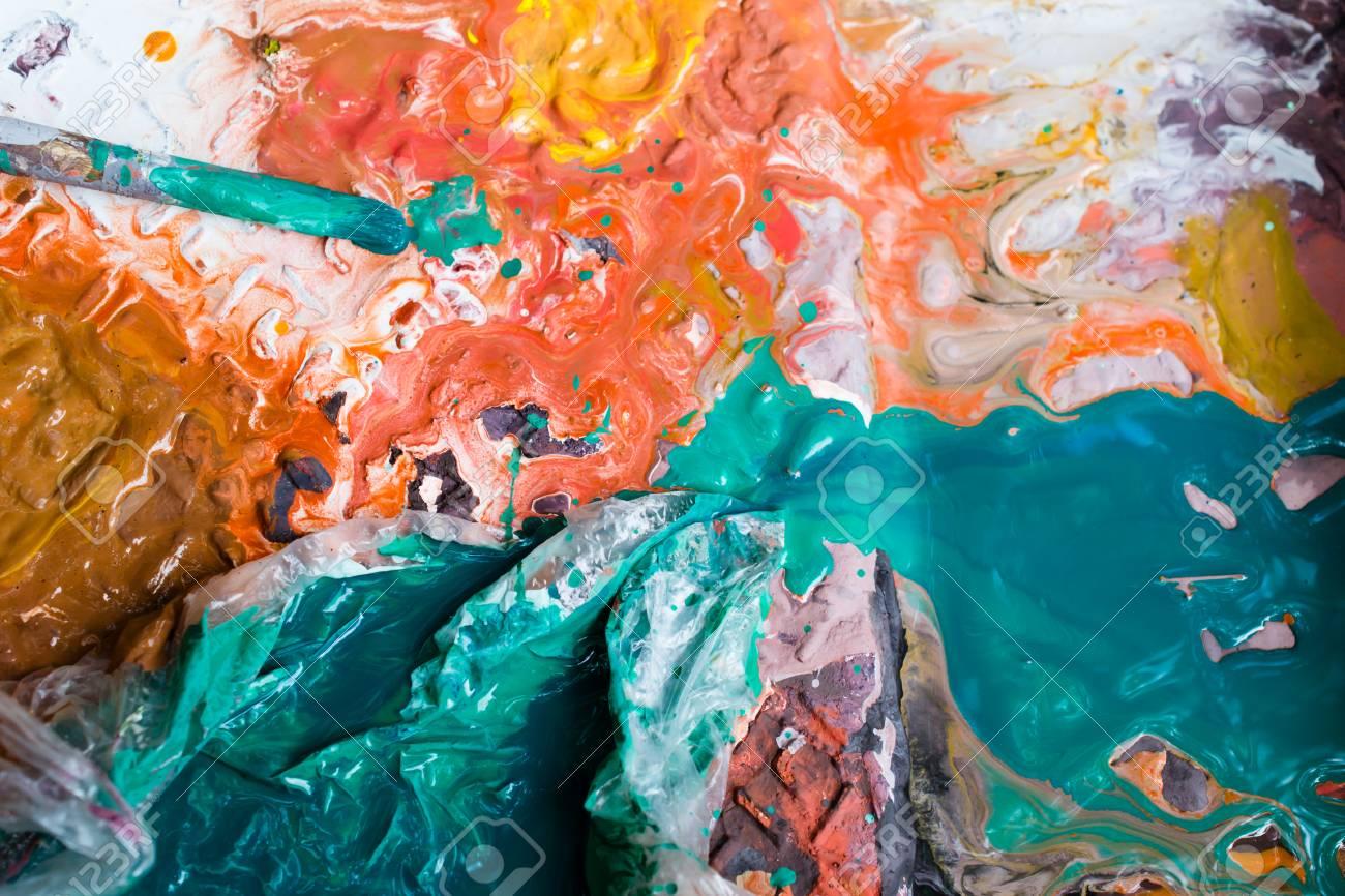 palette with paints - 88297475