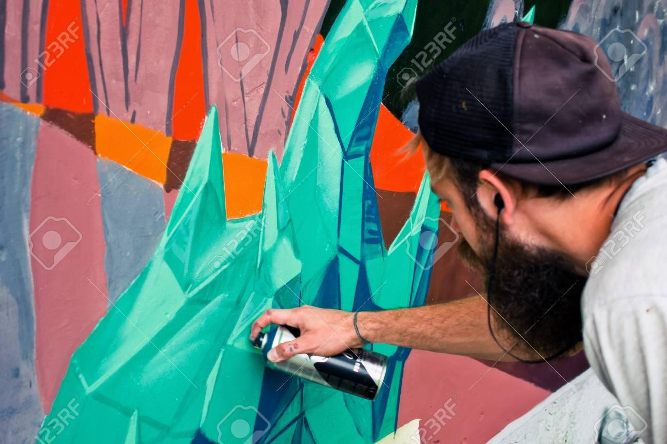 Graffiti on a fence. - 88298087