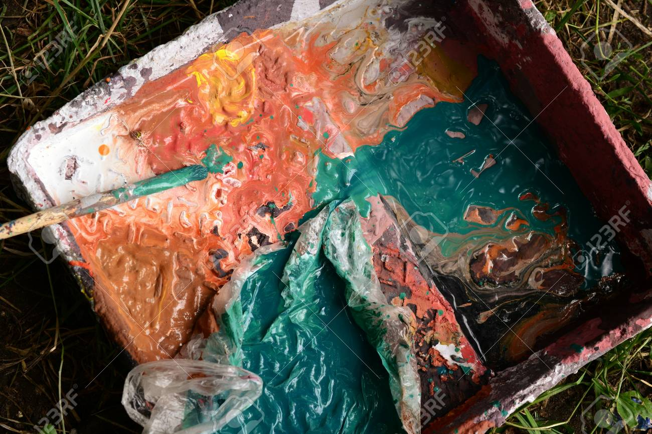palette with paints - 88297480